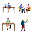 businesspersons flat icons set vector image