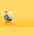businesswoman working on laptop at the beach vector image vector image