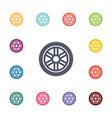 car wheel flat icons set vector image vector image