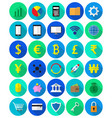 colorful fintech flat icons on white background vector image