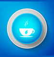 cup tea and leaf icon isolated on blue vector image