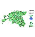 eco green composition estonia map vector image vector image