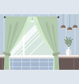 empty room interior with window with curtains vector image
