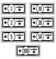 fictional black white dollar banknotes vector image vector image