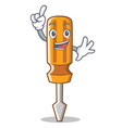 finger screwdriver character cartoon style vector image vector image