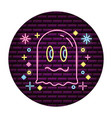 ghost video game neon vector image vector image