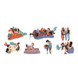 girl friends young females shopping eating vector image vector image