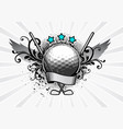 golf emblem ball and clubs vector image