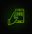hand holding smartphone with a barcode inside vector image
