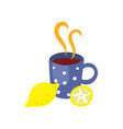 hot beverage cup with lemon flat isolated vector image vector image