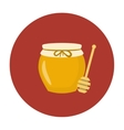 jar of honey with wooden stick vector image