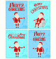 merry christmas santa claus postcard lettering vector image vector image
