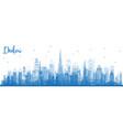 outline dubai uae skyline with blue buildings vector image
