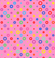pink background fabric with colored circles vector image vector image