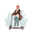 profile young man riding electric walk scooter vector image vector image