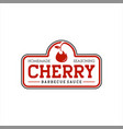 red cherry sauce barbecue stamp vector image vector image
