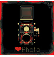 retro poster with colored vintage camera vector image vector image