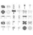 road junctions and signs monochromeoutline icons vector image