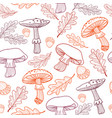 seamless pattern of mushrooms fly agarics acorns vector image