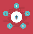 set of beverage icons flat style symbols with vector image vector image