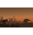 Silhouette oof many dinosaur in hills vector image vector image
