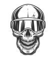 skull in ski glasses vector image