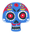 skull with zombie make up day dead vector image