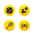 Tennis ball and racket icons Laurel wreath vector image vector image
