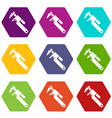 universal spanner icons set 9 vector image