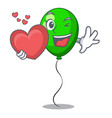 with heart green ballon with cartoon ribbons vector image