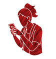 woman typing textwoman using smartphone cartoon vector image