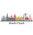 amritsar india city skyline with gray buildings vector image vector image