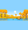 autumn rural landscape with hills and river vector image
