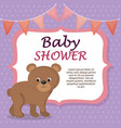 baby shower card with cute bear vector image vector image