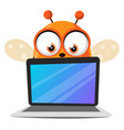 bee holding a laptop on white background vector image vector image