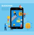 blockchain scene with minimalistic people vector image vector image