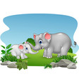 cartoon mother and baby elephant in the jungle vector image
