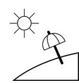 contour island with sun weather and umbrella open vector image vector image