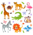 cute jungle and safari animals set for kids vector image vector image