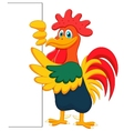 Cute rooster cartoon and blank sign vector image vector image
