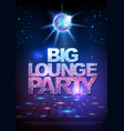 disco ball background poster big lounge party vector image vector image