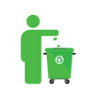 dispose trash icon with man in green color vector image vector image
