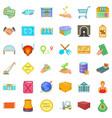economics icons set cartoon style vector image vector image