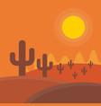 flat cartoon desert sunset landscape background vector image vector image