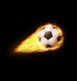flying soccer ball in fire on black background vector image vector image