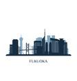 fukuoka skyline monochrome silhouette vector image vector image