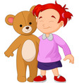 girl cartoon a hugging a big teddy bear toy vector image