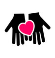 hands with heart icon two-tone silhouette vector image