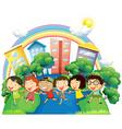 Happy children running in group vector image vector image