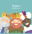 happy three kings smiling on a green background vector image